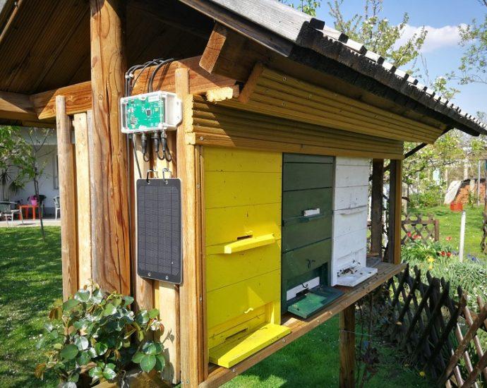 Взвешивание улья пчелиными весами